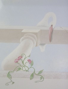 Ibis - detail of tray ceiling mural