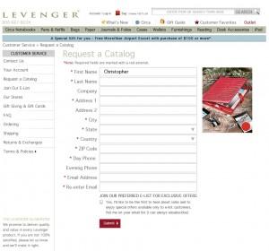 Catalog sign-up form
