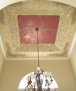 Mural and venetian plaster in tray ceiling