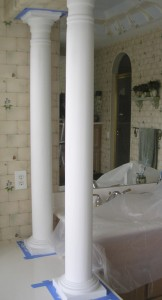 Columns prepped before painting