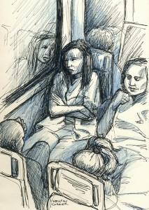 Sad nurse on Tri-rail