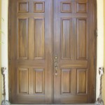 Faux wood grain metal doors