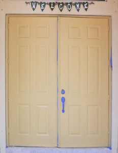 Doors prepped before wood-graining