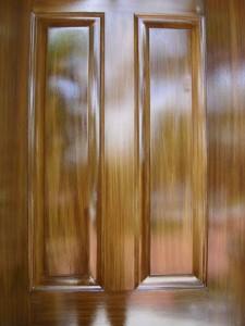 Detail - faux wood grain on metal door