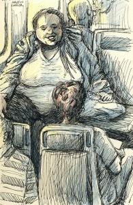 Smiling woman on Tri-rail